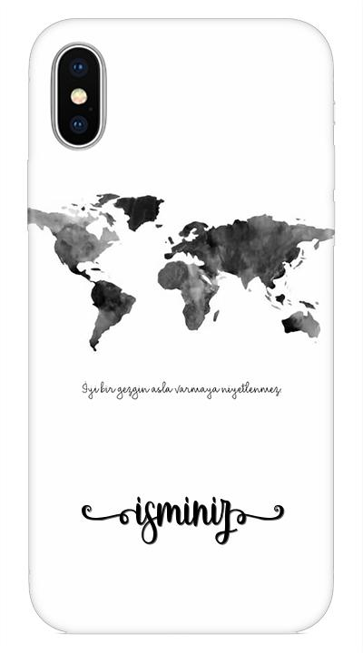 Harita Desenli Cep Telefonu Kılıfı